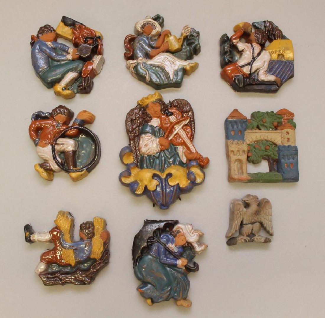 Grouping of (9) Mercer Tile Figures