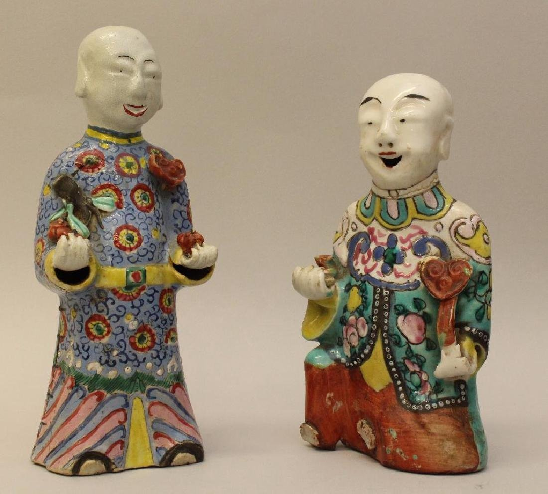 (2) Pair of Chinese Polychrome Figures