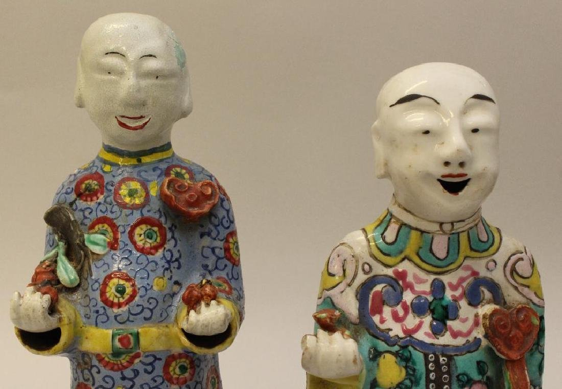 (2) Pair of Chinese Polychrome Figures - 2