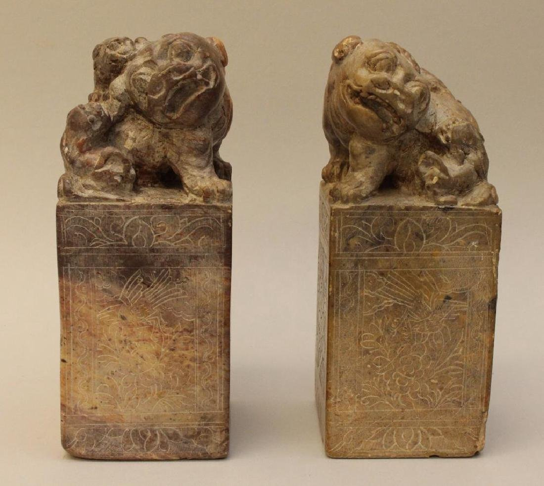 (2) Pair of Soapstone Foo Dog Bookends