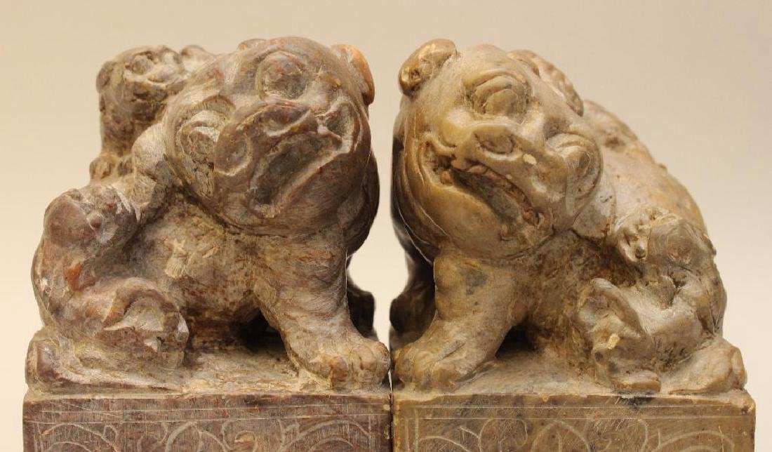 (2) Pair of Soapstone Foo Dog Bookends - 2