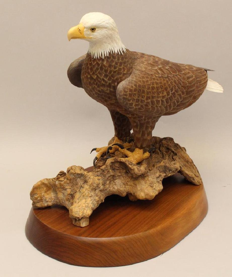 Painted and Carved Wooden Sculpture of a Bald Eagle - 2