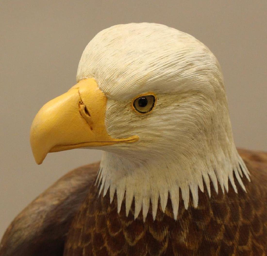 Painted and Carved Wooden Sculpture of a Bald Eagle - 3