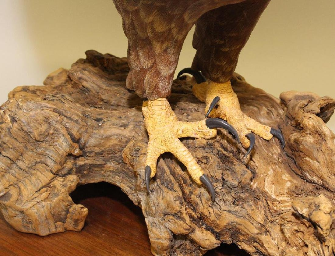 Painted and Carved Wooden Sculpture of a Bald Eagle - 5