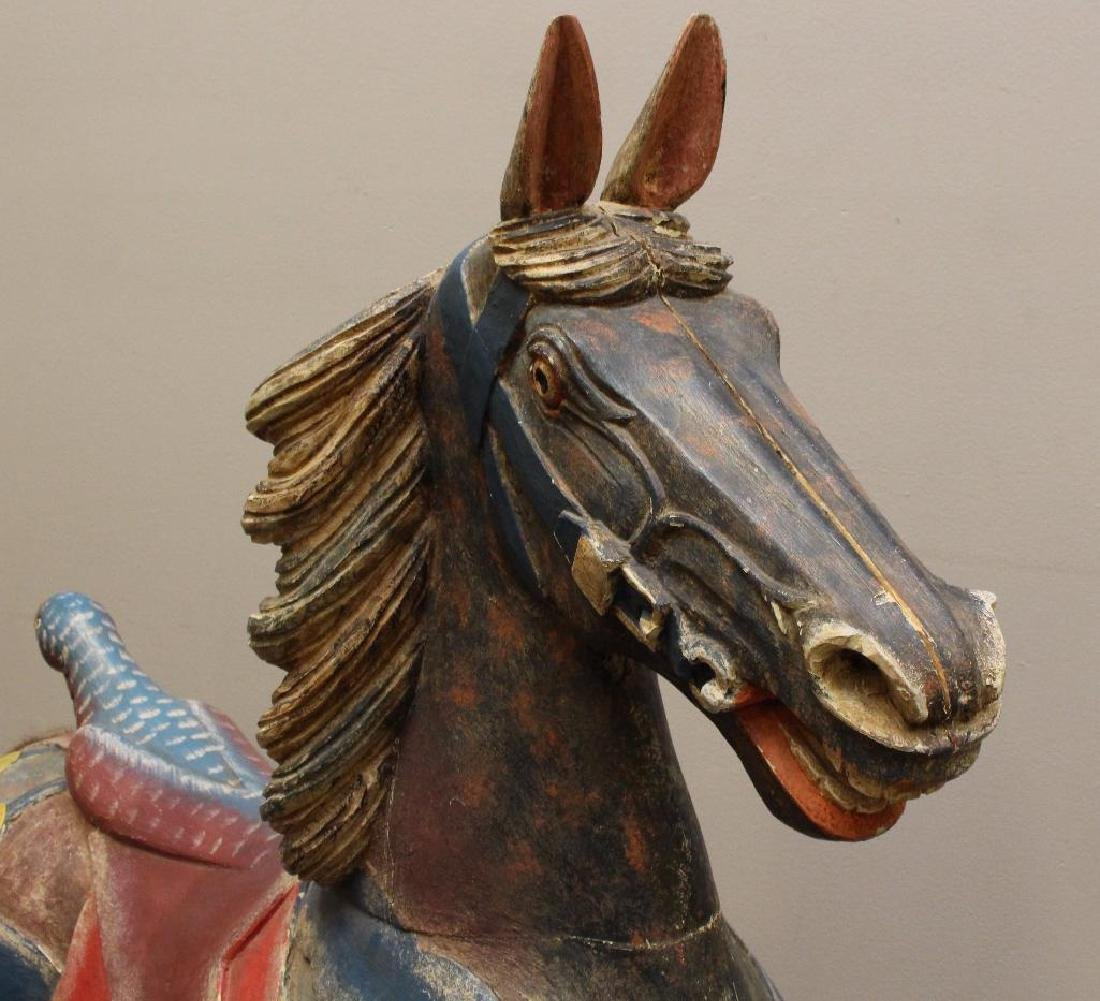 Painted and Carved Prancing Horse - 4