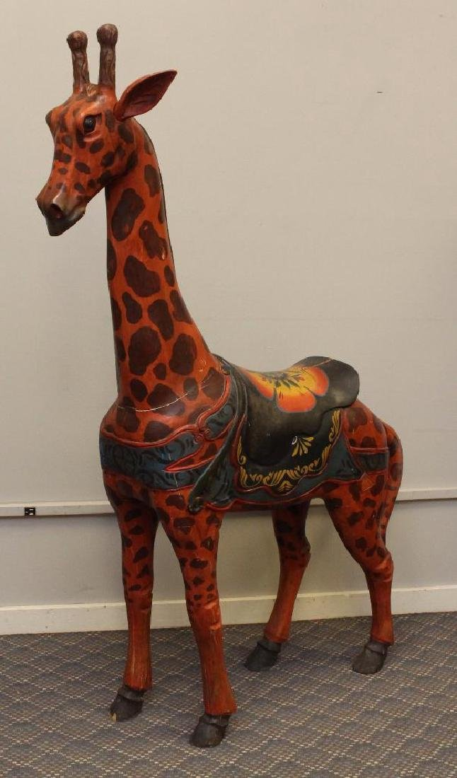 Painted and Carved Giraffe