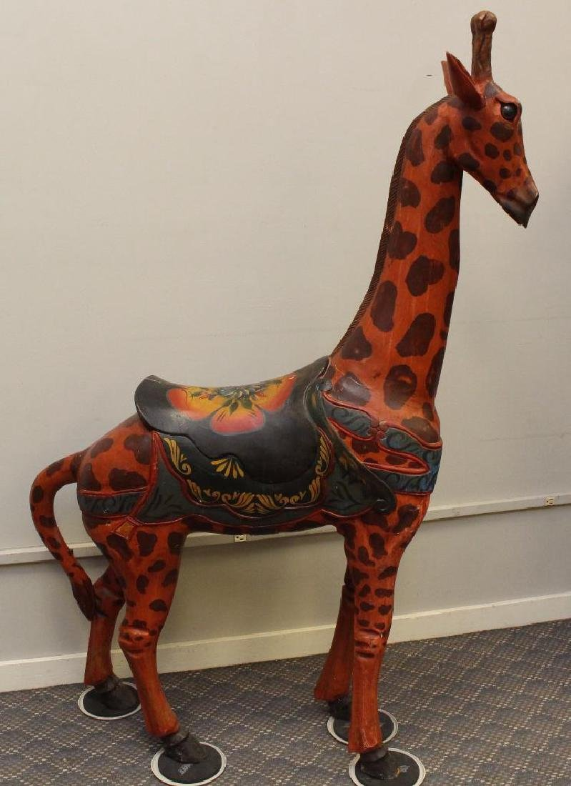 Painted and Carved Giraffe - 2
