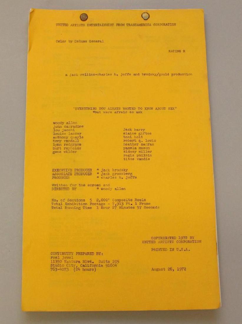 Woody Allen United Artists Movie Script