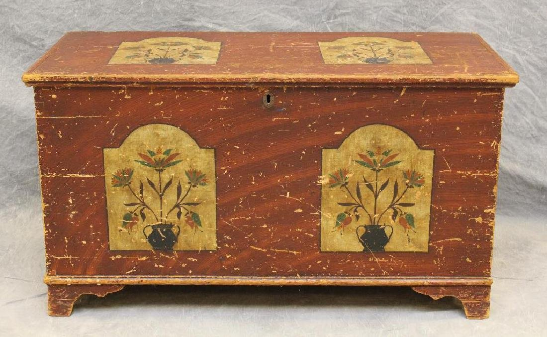 Paint Decorated Blanket Chest - 2
