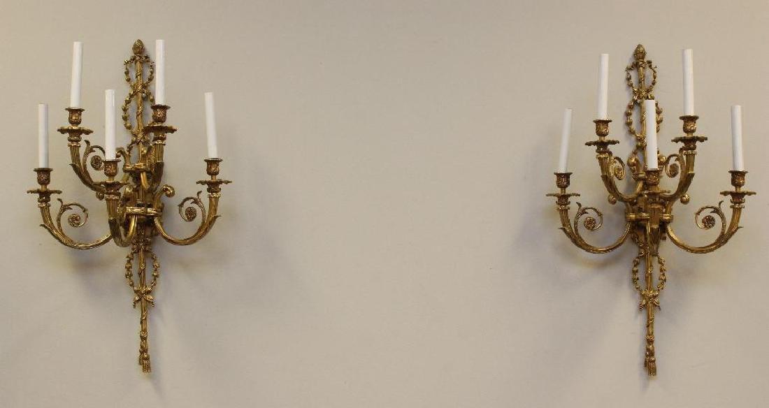 (2) Pair of Ornate Gilt Bronze Sconces