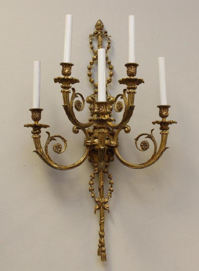 (2) Pair of Ornate Gilt Bronze Sconces - 2