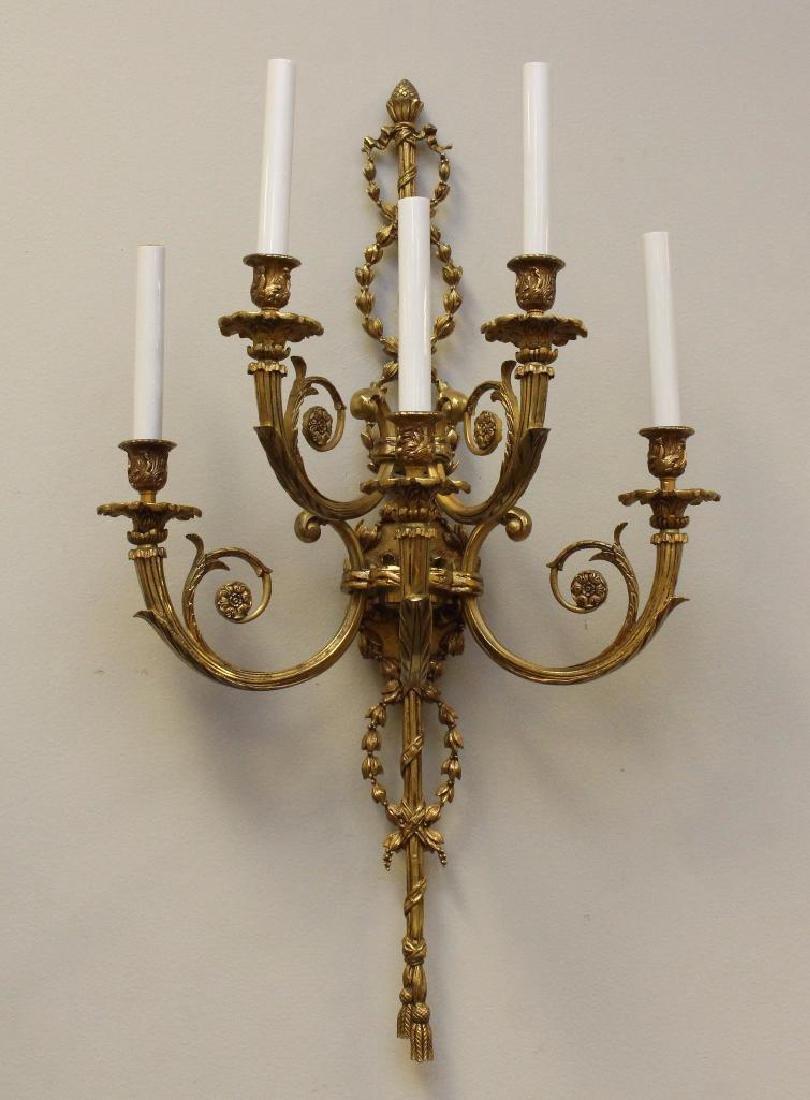 (2) Pair of Ornate Gilt Bronze Sconces - 2