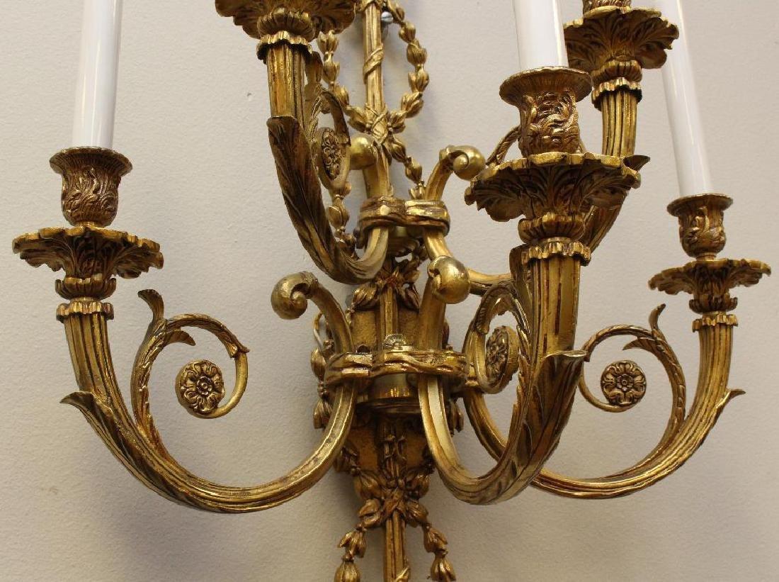 (2) Pair of Ornate Gilt Bronze Sconces - 3