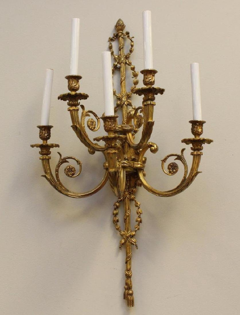 (2) Pair of Ornate Gilt Bronze Sconces - 4