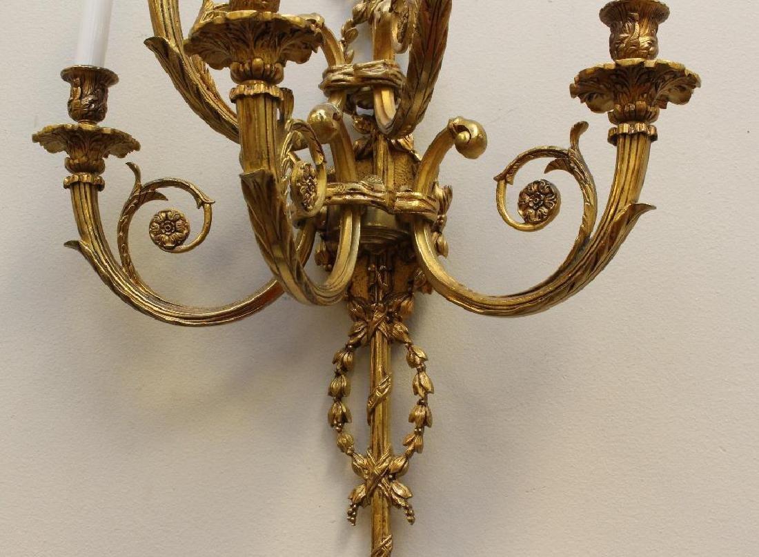 (2) Pair of Ornate Gilt Bronze Sconces - 5