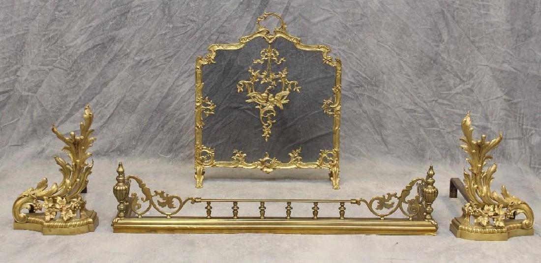 (4) Piece French Bronze Chenet