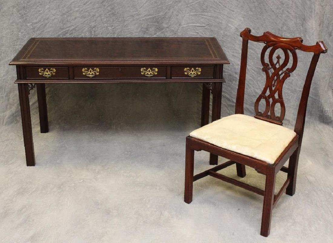 Sligh Mahogany Library Desk and Chair