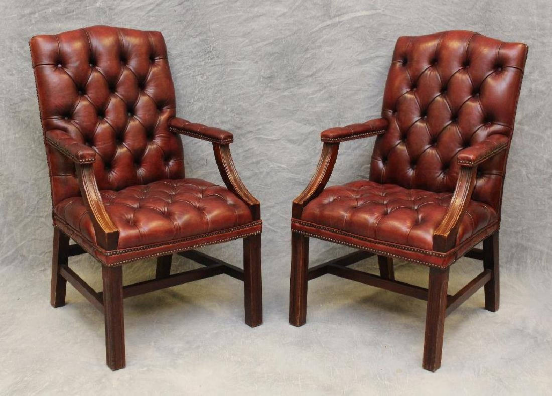 (2) Pair of Chesterfield Library Armchairs