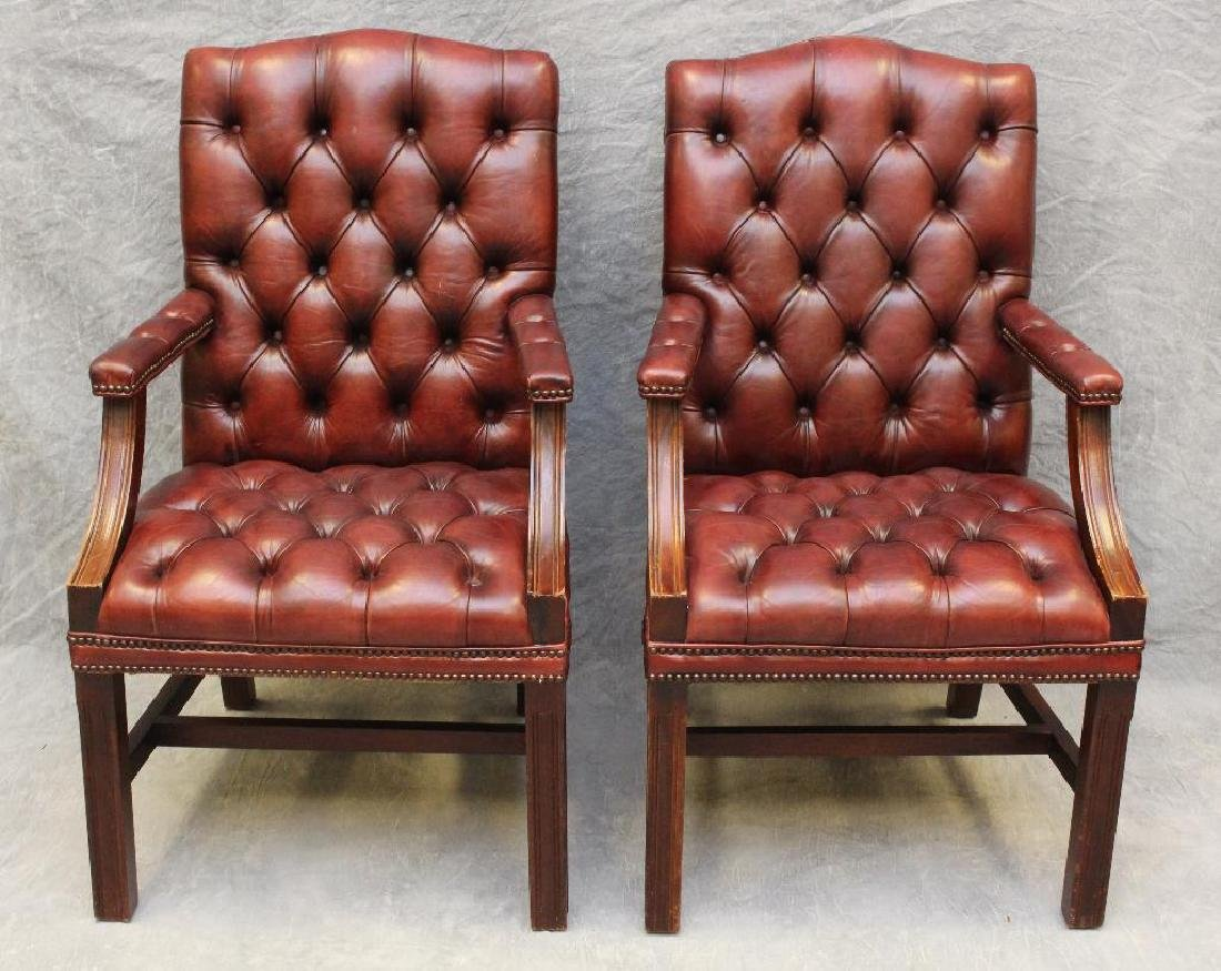 (2) Pair of Chesterfield Library Armchairs - 2