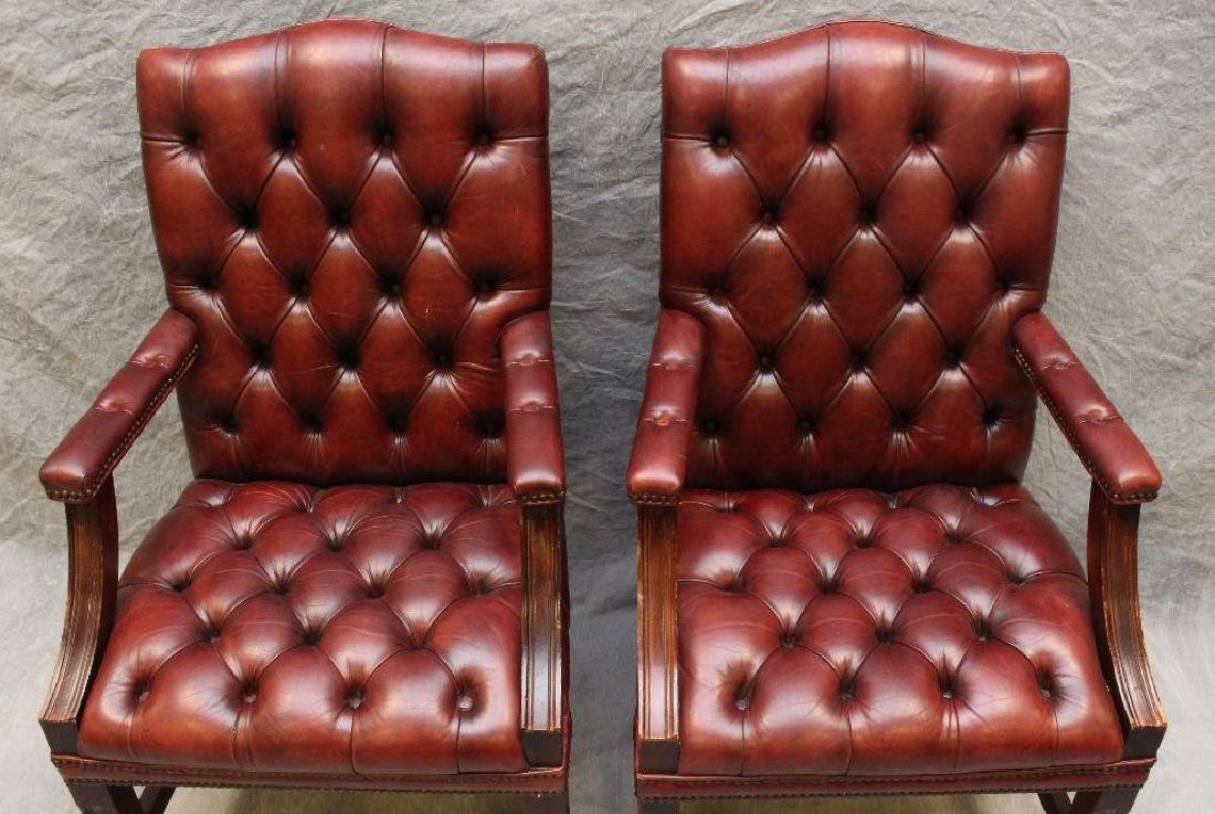 (2) Pair of Chesterfield Library Armchairs - 3