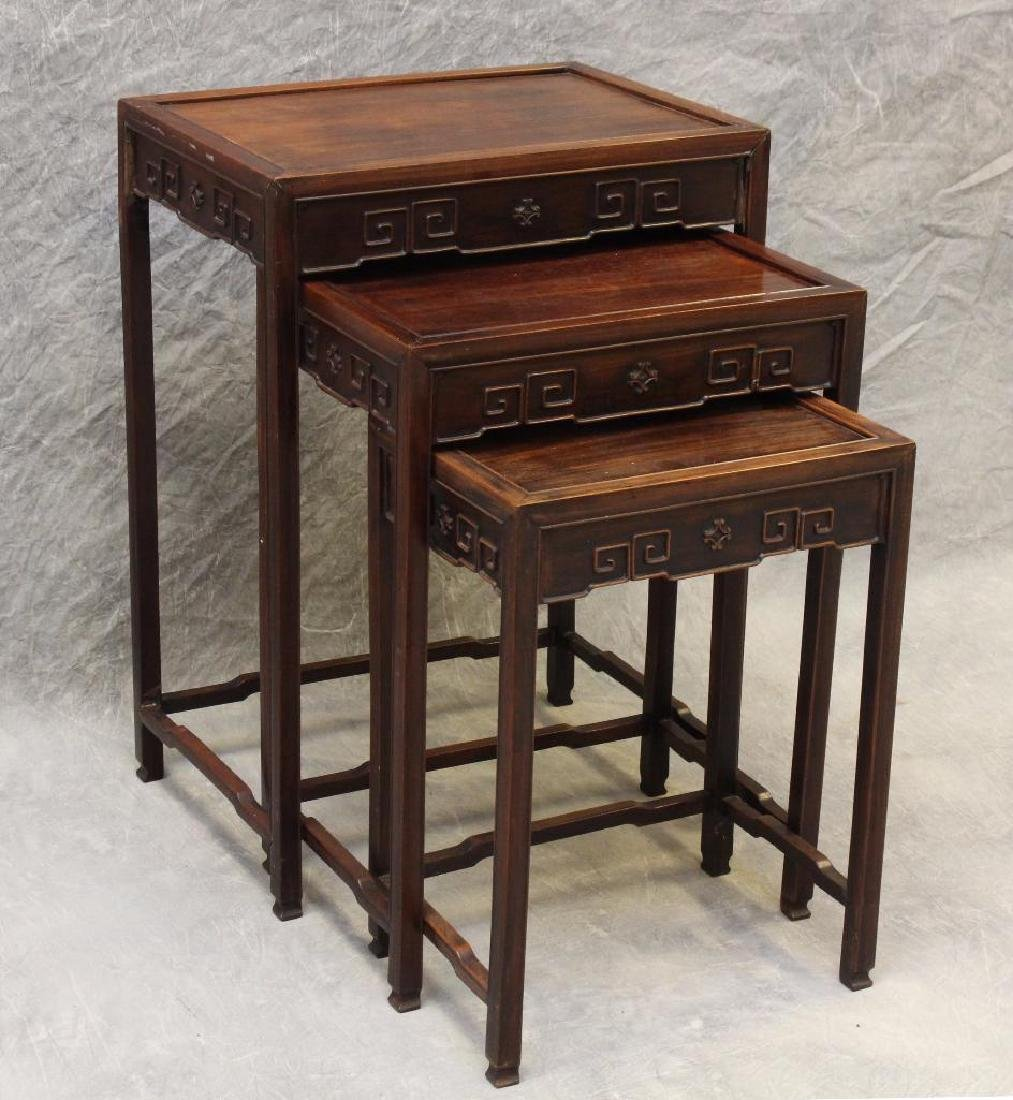 Set of (3) Asian Rosewood Nesting Tables