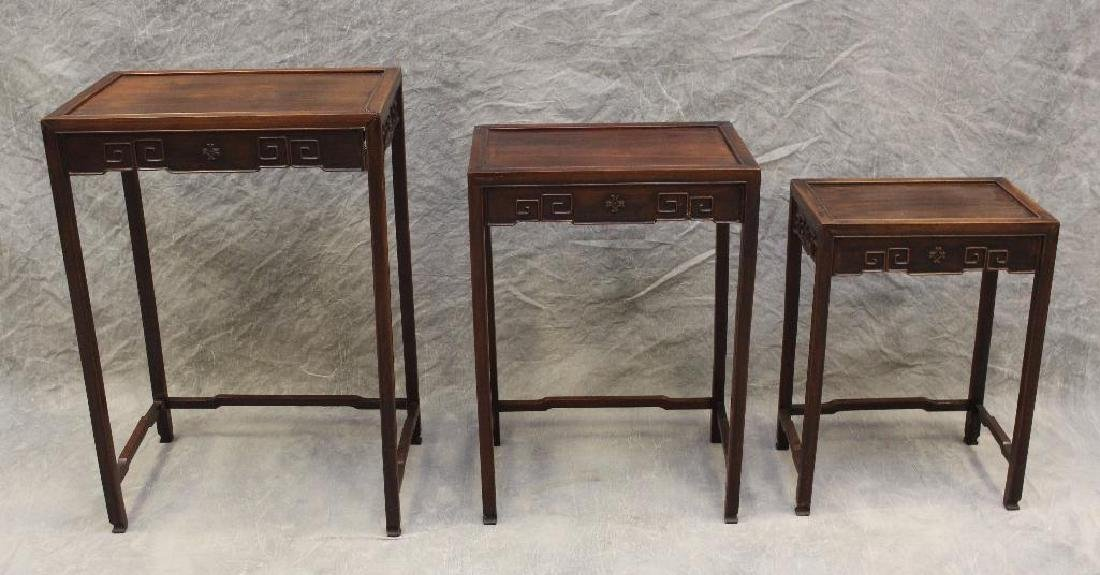 Set of (3) Asian Rosewood Nesting Tables - 2