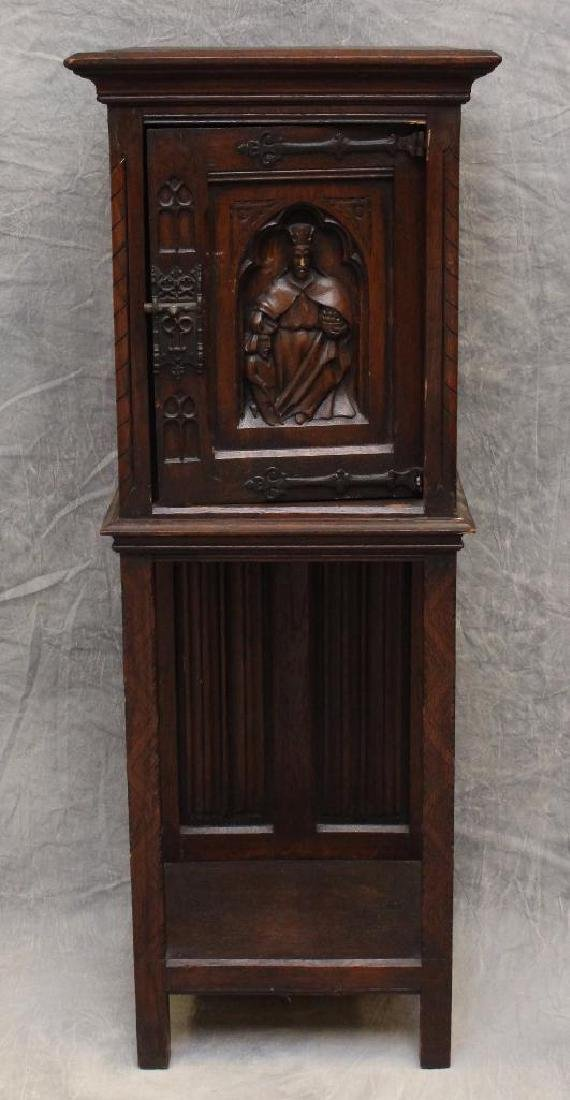 Carved Oak Reliquary Cabinet