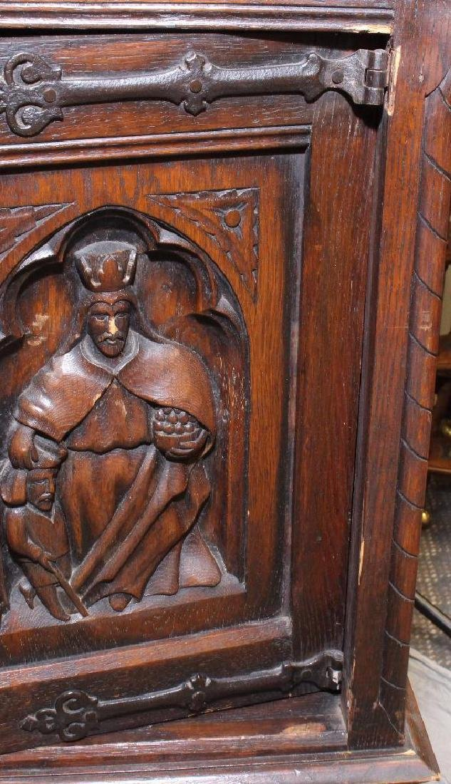 Carved Oak Reliquary Cabinet - 4