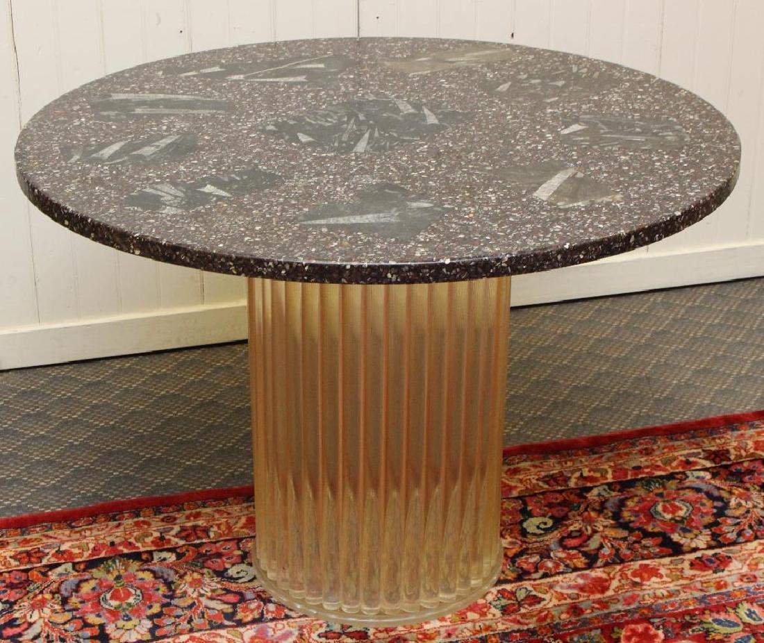 Granite and Lucite Center Table