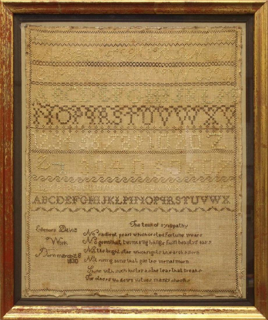 Ellenora Davis Work 1830, Alphabet Needlework