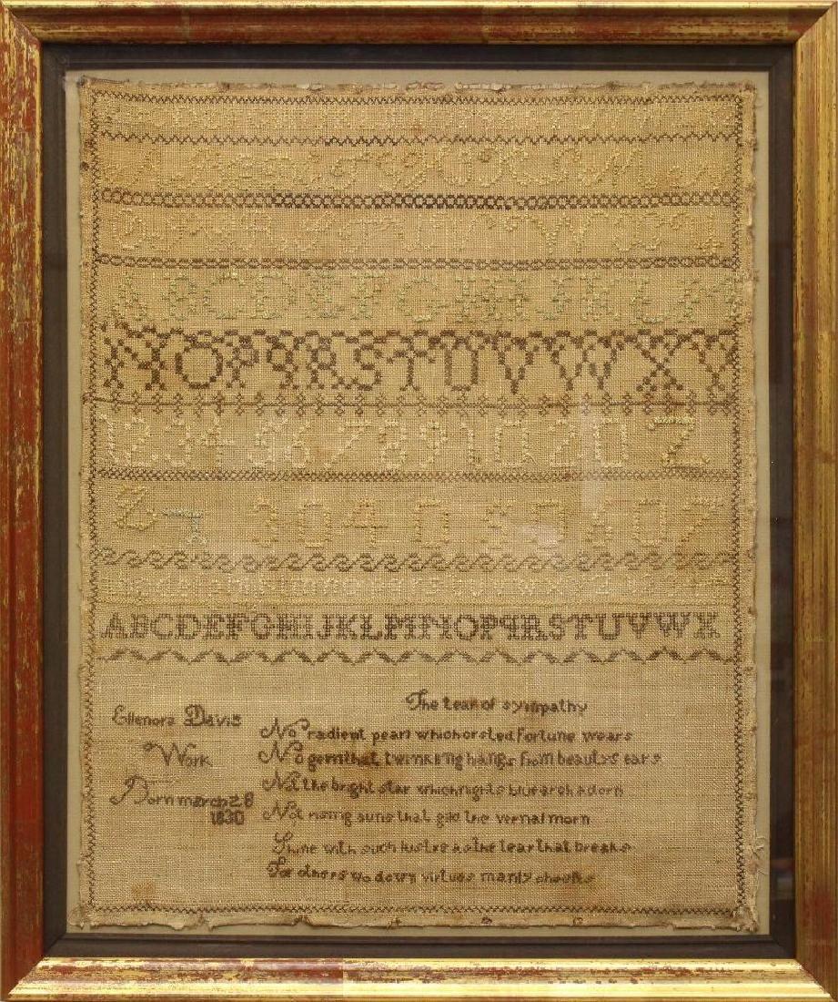 Ellenora Davis Work 1830, Alphabet Needlework