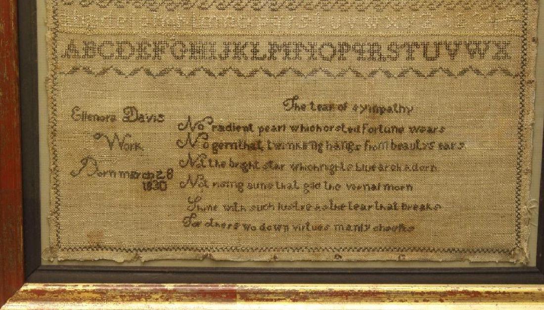 Ellenora Davis Work 1830, Alphabet Needlework - 2