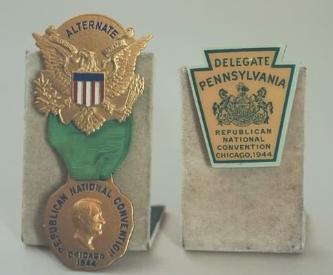 3004: Republican National Convention Badges-1944.