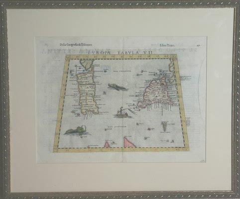 3015: Map of Sicily & Sardinia-16th century.