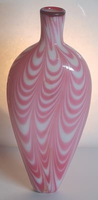 3502: Nailsea Flask Pink and White Swirl.