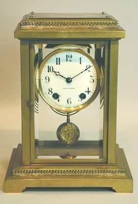 3716: Seth Thomas Brass and Glass Mantel Clock.