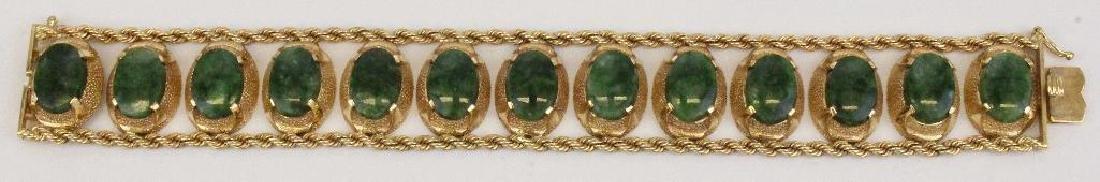 14K Yellow Gold Bracelet. Jade