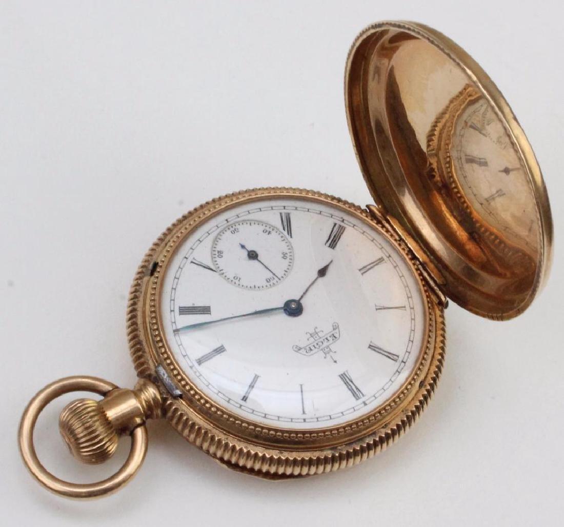 14K Rose Gold Elgin Hunter Style Pocket Watch. Single