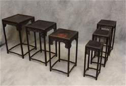 Set of 6 Chinese Fretwork Nesting Tables