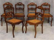 Set of 6 French Provincial Walnut Side Chairs
