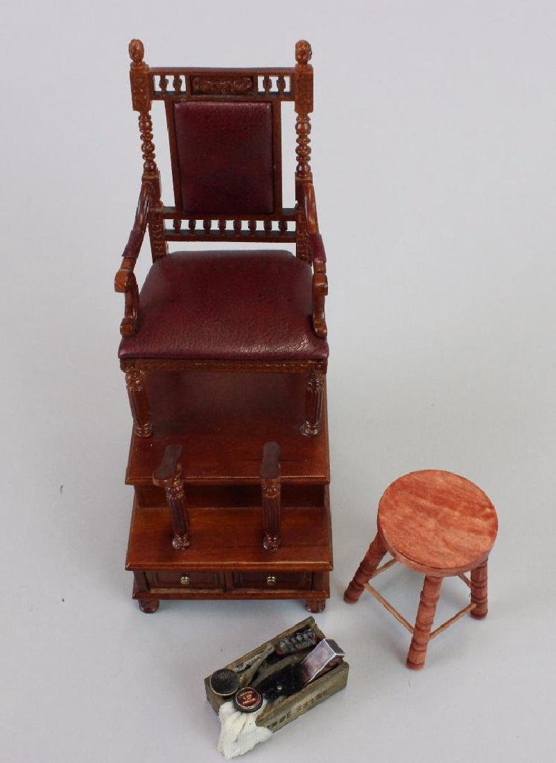 Shoeshine chair, stool and box