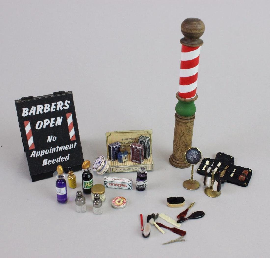 Barber pole and Barber shop assorted items