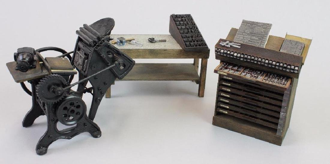 Printing press, type cabinet setting table w/ ink tools