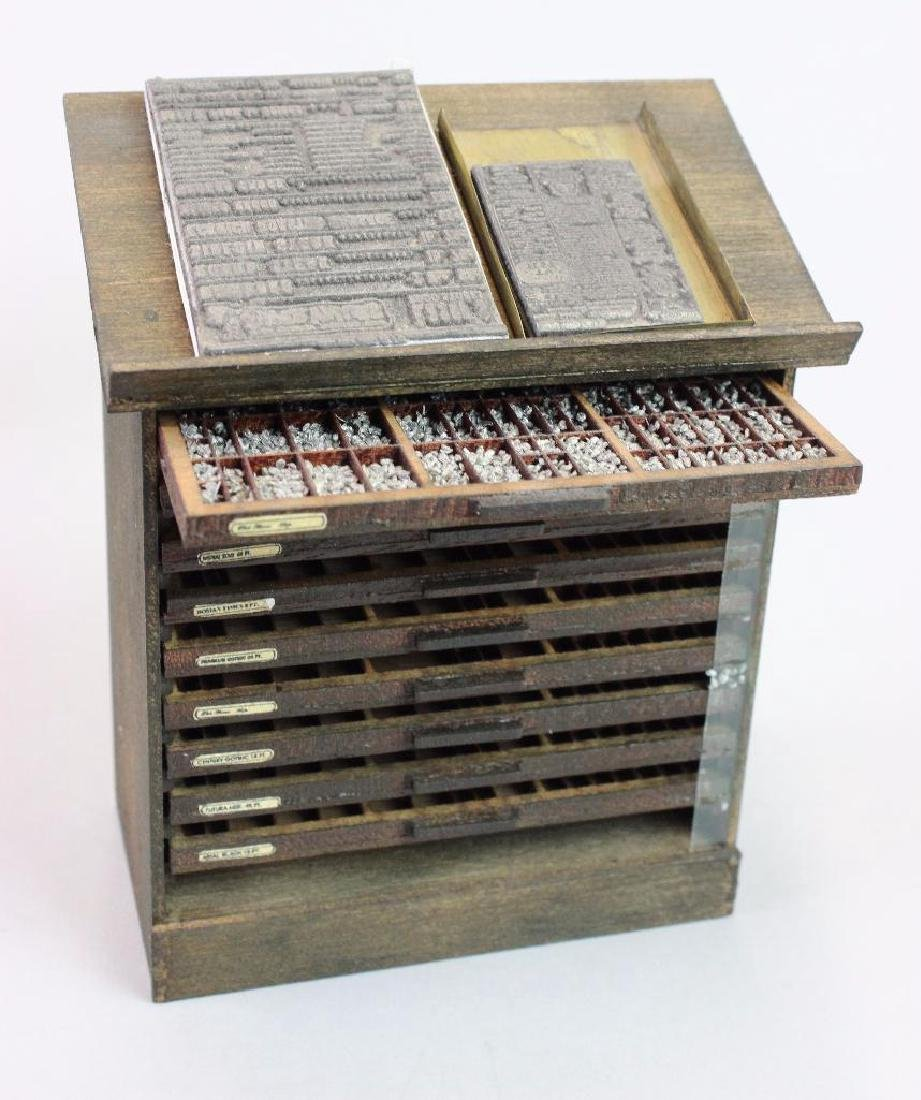 Printing press, type cabinet setting table w/ ink tools - 2