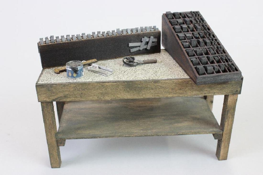 Printing press, type cabinet setting table w/ ink tools - 4