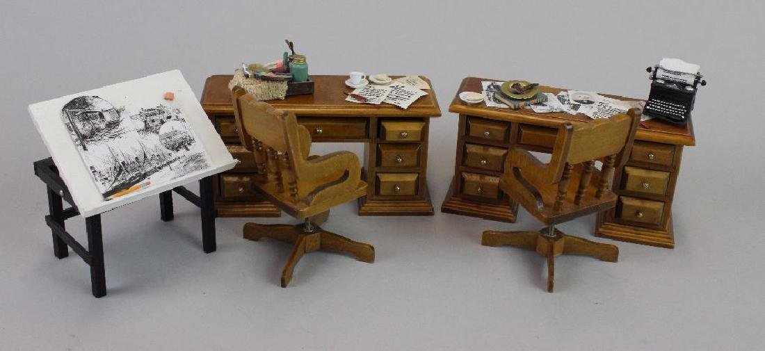 Desk, Typewriter, Drawing Desk, Paint Box and Chairs