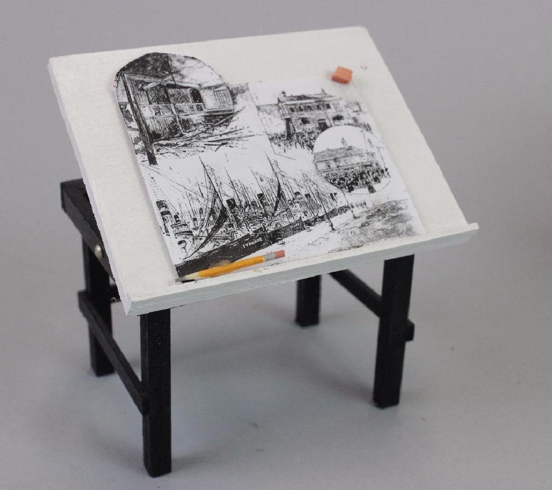 Desk, Typewriter, Drawing Desk, Paint Box and Chairs - 3