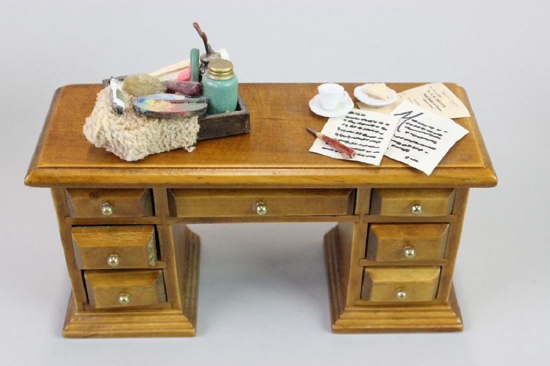 Desk, Typewriter, Drawing Desk, Paint Box and Chairs - 4