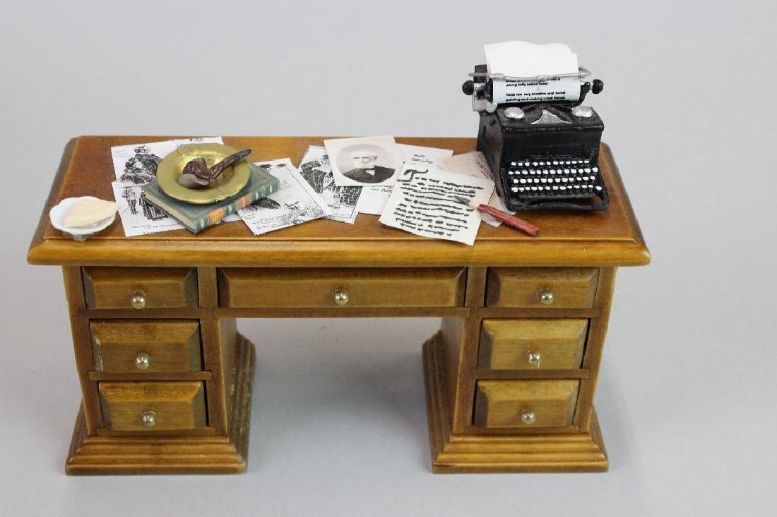 Desk, Typewriter, Drawing Desk, Paint Box and Chairs - 5