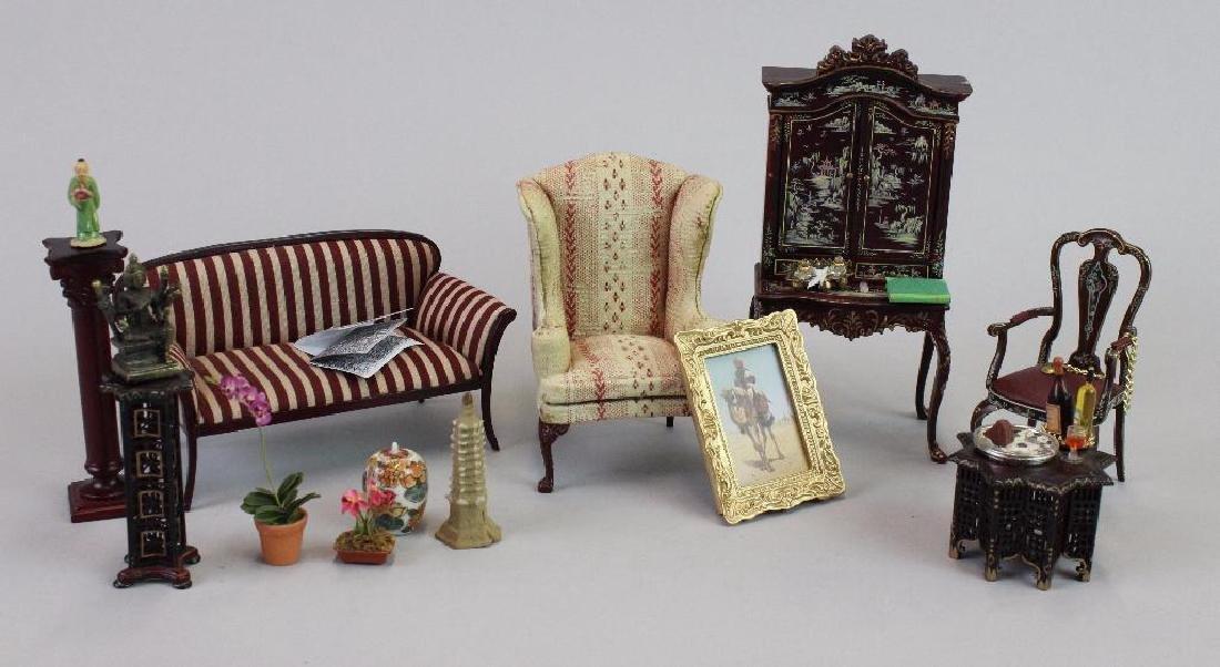 Art Dealer's Apartment - sofa, chairs, desk, clock